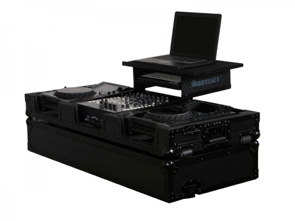 Odyssey DJ Set Case Mixer / Player Schwarzes Glide Flightcase (FZGS12CDJWBL)